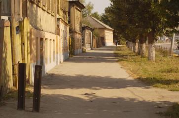 Walking on sidewalk in town