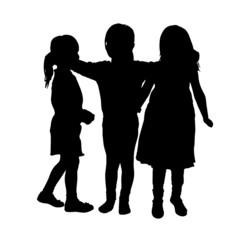 Vector silhouette of children.
