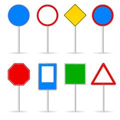 blank traffic sign set one vector illustration