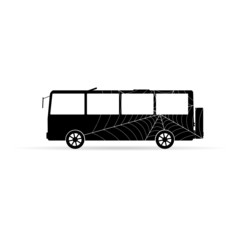 bus vector icon with spider web