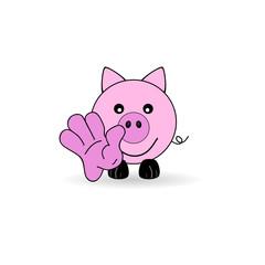 little pig welcomes you vector illustration