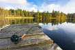 Autumn fly fishing in the lake - 71656560