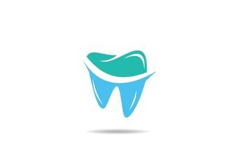 blue green Dentist vector logo design template