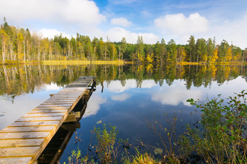 Autumn lake scenery in Southern Sweden