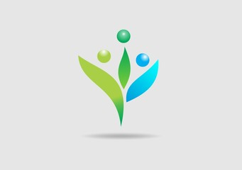 family people nature leaf  abstract vector logo