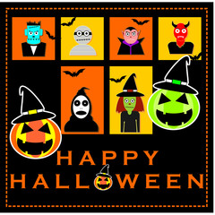 Vector Set Of Halloween With Cute Figures