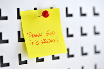 Thank God its Friday, Wochenende, Pinnwand, Zettel, Notiz, tgif