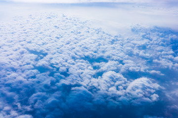 Clouds from an Airplane Window.  Sky and clouds. Plane view from