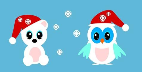 Snow owl and bear