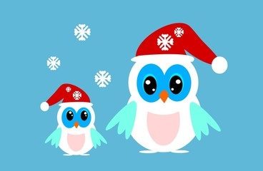 Two winter owls