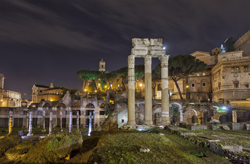 Roman forum by night.