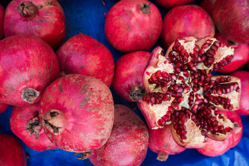 Pomegranates at the Market.  Fresh farmer's market pomegranates.
