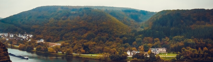 Panoramic view of the river Moselle (Mosel)