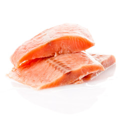 fresh salmon steak over white background