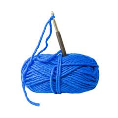 Wolle in blau mit Häkelnadel