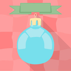 Christmas bauble on red background with green banner on the top