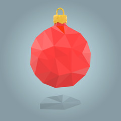 Polygonal red christmas bauble. EPS10 vector illustration