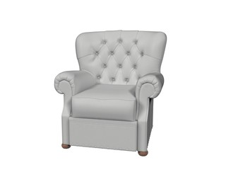 Armchair Leather - white