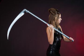 Elegant nun with a scythe
