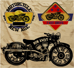 Motorcycle Vintage Logo Man T shirt Graphic Set Design