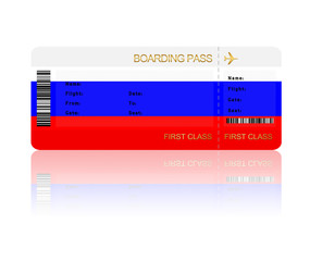 air ticket with Russia flag isolated over white