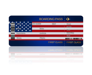 air ticket with United States of America flag isolated over whit