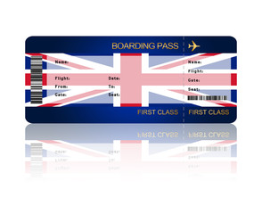 air ticket with Great Britain flag isolated over white