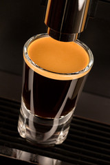 Strong double espresso coffee shot