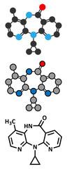 Nevirapine HIV drug molecule.