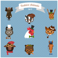 Fashion Hipster Animals set 3