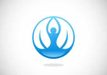 yoga people leaf meditation vector logo