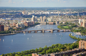Boston Back Bay Aerial view and Longfellow Bridge, Boston