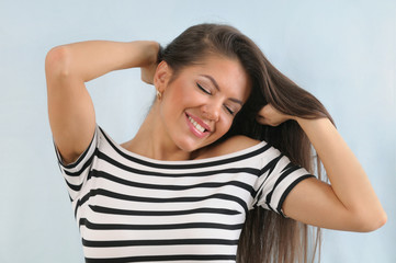 attractive cute happy young emotional woman enjoying life