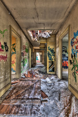 Decayed hallway in an abandoned building