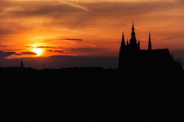 Panorama of Prague Castle at sunset, Czech Republic