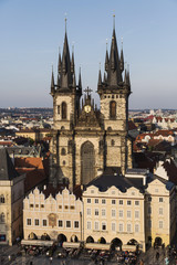 the towers of Church of Our Lady before Týn, Prague, Czech