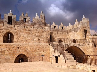 old walls by Damascus Gate in Jerusalem