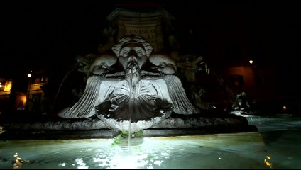 Fountain from Piazza della Rotonda and Pantheon.Closeup.