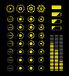 streaming icons in dark and yellow color