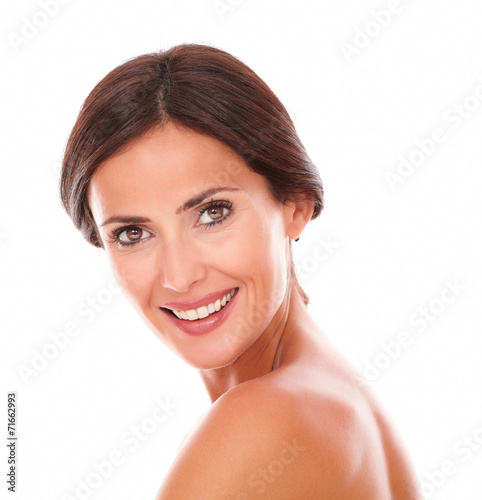 canvas print picture Sexy and beautiful woman smiling at camera