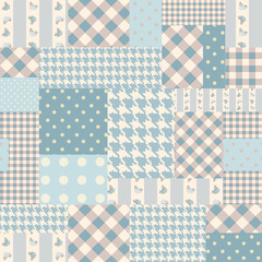 Blue patchwork of rectangles.
