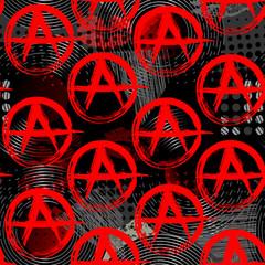 Symbols of anarchy punk pattern