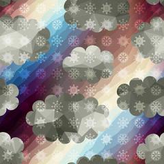 Geometric sky with snowfall