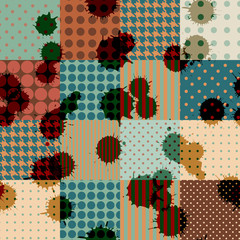 Retro patchwork with blombs.