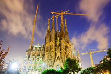 Sagrada Familia in evening time. Barcelona, Spain