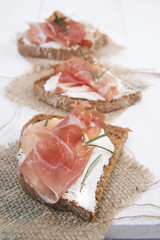 Bread, cheese and ham