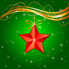 Christmas star on green background
