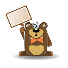 Cartoon illustration of a talking bear with a white sign.