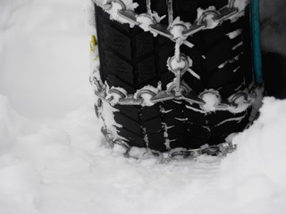 Snow chains winter