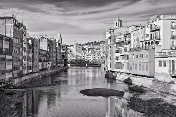 View of Girona, Catalonia, Spain. Black and white picture.